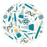 Circle of laboratory dishes stock illustration