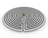 Circle labyrinth pound Stock Photo