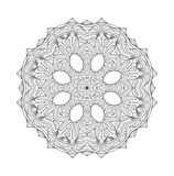Circle lace black and white ornament. Vector round ornamental geometric pattern Royalty Free Stock Image