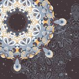 Circle lace hand-drawn abstract background. Ornament card. Ornamental round pattern Stock Images