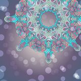 Circle lace hand-drawn abstract background. Ornament card. Ornamental round pattern Stock Photo