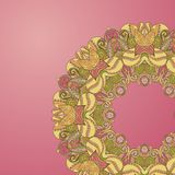 Circle lace hand-drawn ornament card Stock Images