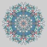 Circle lace organic ornament. Round ornamental natural doily pattern Stock Illustration