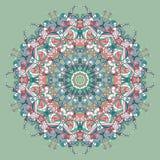 Circle lace organic ornament. Round ornamental natural doily pattern Royalty Free Illustration