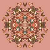Circle lace organic ornament. Round ornamental natural doily pattern. Autumn colors Stock Illustration