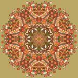 Circle lace organic ornament. Round ornamental natural doily pattern. Autumn colors Vector Illustration