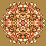 Circle lace organic ornament. Round ornamental natural doily pattern. Autumn colors Royalty Free Illustration