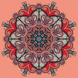 Circle lace ornament, round geometric doily Royalty Free Stock Images