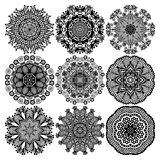 Circle lace ornament, round ornamental geometric Stock Images