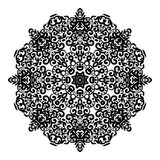 Circle lace ornament, round ornamental geometric doily pattern, black and white isolated mandala Royalty Free Stock Photography