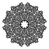 Circle lace ornament, round ornamental geometric doily pattern, black and white isolated mandala Royalty Free Stock Photo