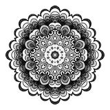 Circle lace ornament, round ornamental geometric doily pattern, black and white isolated mandala  Stock Photo