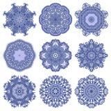 Circle lace ornament, round ornamental geometric. Doily pattern, christmas snowflake decoration Stock Photo