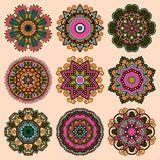 Circle lace ornament, round ornamental geometric Stock Photos
