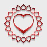 Circle lace ornament, round ornamental geometric doily pattern w. Ith red heart shaped and shadow. Vector illustration greeting, wedding invitation, Valentine`s Royalty Free Stock Photography