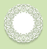 Circle lace ornament, round ornamental geometric doily pattern w Stock Photography