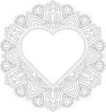 Circle lace ornament, round ornamental geometric doily pattern w Royalty Free Stock Image
