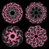 Circle lace ornament set Royalty Free Stock Images