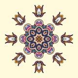 Circle lace steampunk ornament, round ornamental geometric pattern Stock Photo