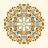 Circle lace steampunk ornament, round ornamental geometric pattern Royalty Free Stock Image