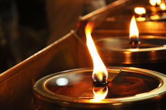 Circle Lamp Light Oil. Oil lamp in a temple in Thailand. The lamp on the importance of religion One is faith Stock Photo