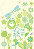 Circle Land_eps. Illustrations of many circles with green bird and dragonfly Royalty Free Stock Image