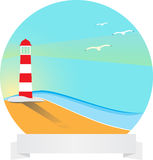 Circle landscape. With ribbon and lighthouse Royalty Free Stock Photos