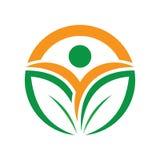 Circle leaf ecology logo Stock Images