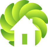 Circle leaf home logo Royalty Free Stock Photo