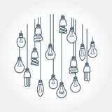 Circle of light bulb hanging on cords Stock Image