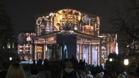 Circle of light. Fantastic famous place The Bolshoi Theatre festival in Moscow night projection international Stock Photo