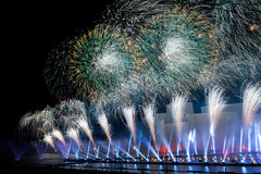 The Circle of Light Moscow international festival 2016. MOSCOW, RUSSIA - SEPTEMBER 25, 2016: The Circle of Light Moscow international festival 2016. Music, fire Stock Photography