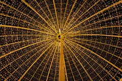 Circle of light yellow star in the night royalty free stock photos