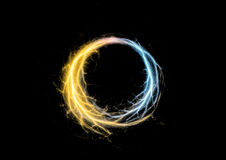Circle lightning. Blue and golden circle lightning Stock Images