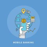 Circle line flat design of mobile banking, modern  illustration. ! Stock Photos