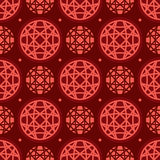 Circle line red symmetry seamless pattern Stock Photos