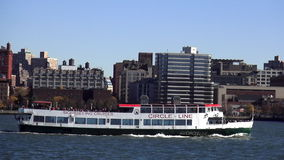Circle Line Sightseeing Boat on Hudson River New York USA cityscapes stock video footage