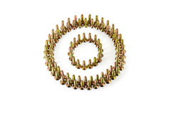 The circle is lined with yellow avarage galvanized screws isolated on white background Stock Photos