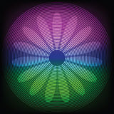 Circle lines with flower silhouette. Circle lines with flower silhouette inside on colorful background stock illustration