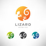 Circle Lizard Icon. Logo Design. Royalty Free Stock Images