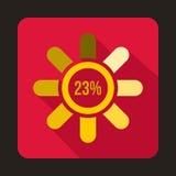 Circle loading, 23 percent icon, flat style. Circle loading, 23 percent icon in flat style on a crimson background Royalty Free Stock Photography