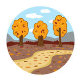 Circle locations, little landscape (autumn day in the woods) Stock Images