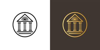 Circle logo with classic academy building and lotus on top of it. Classic academy building with columns and lotus symbol on the top. Emblem logo in a circle in royalty free illustration