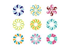 Circle logo, floral template,Set of round abstract infinity flower pattern vector design Royalty Free Stock Images