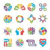 Circle logo shapes. Community group recycling partnership together colorful abstract forms for business symbols and. Logotypes. Business circle community, shape royalty free illustration