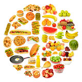 Circle with lots of food Royalty Free Stock Photography