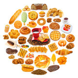 Circle with lots of food Royalty Free Stock Photo
