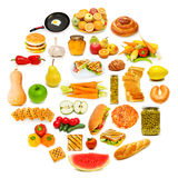 Circle with lots of food Royalty Free Stock Photos