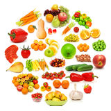 Circle with lots of food items Royalty Free Stock Photo