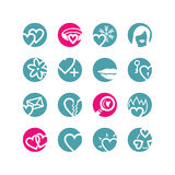 Circle love icons. Blue; pink Stock Photos